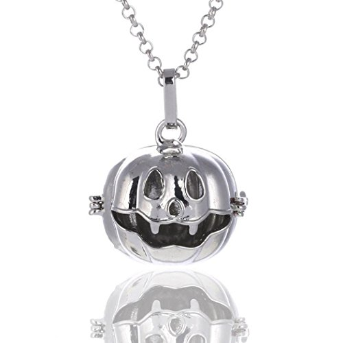 Waymine Hot Halloween Pumpkin Prenatal Bells Long Sweater Chain Necklace Jewelry (White) (Carnelian White Earrings)
