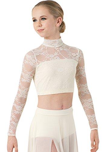 Balera Lyrical Dance Crop Top Long Sleeve Mock Neck Lace Overlay