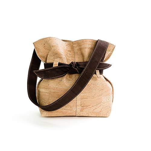Vegan Cork Shoulder Bag for woman With Big Bow made in Portugal