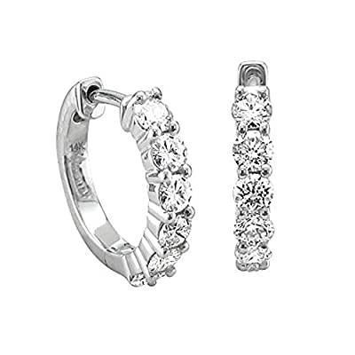 14K Gold 6 Diamond Hoop Diamond Earrings (3/4 Carat) - IGI Certified