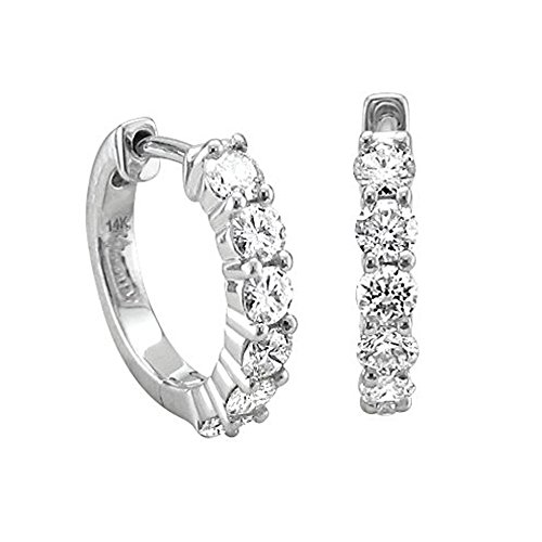 14k White Gold 6 Stone Hoop Diamond Earrings (3/4 Carat) by Diamond Delight