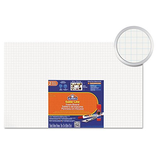 Elmer's 905100 Guide-Line Paper-Laminated Polystyrene Foam Display Board, 30 x 20, White, 2/PK