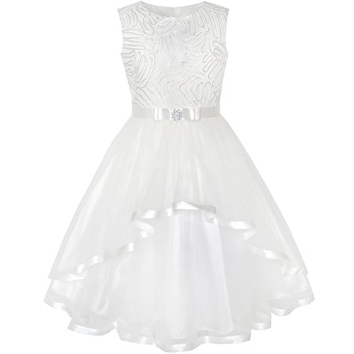 Sunny Fashion KZ63 Flower Girls Dress Off White Belted Wedding Party Bridesmaid Size 6