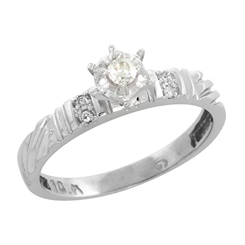 Sterling Silver Diamond Engagement Ring Rhodium finish, 1/8inch wide, Size 9 (Diamond Engagement Rings For Men compare prices)