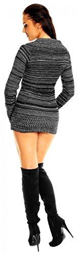 Zeta Ville - Jersey Vestido tipo suéter de punto fino grueso - para mujer - 451z Negro