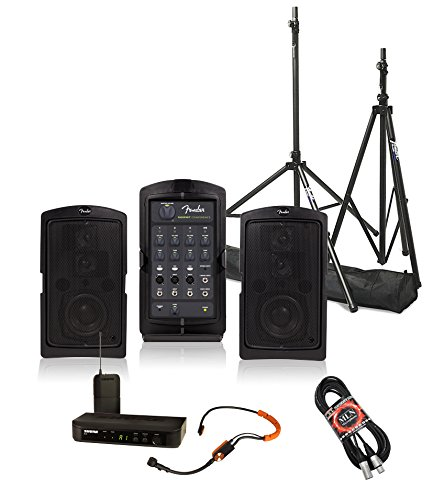 Fender Passport Conference Portable PA System Bundle with Shure BLX14/SM31 Headworn Wireless System with SM31FH Fitness Headset and Accessories - Portable PA System