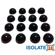 "Isolate It!: 1/2"" (1.27cm) Sorbothane Hemisphere Rubber Bumper Non-Skid Feet with Adhesive 30 Durometer - 16-Pack"