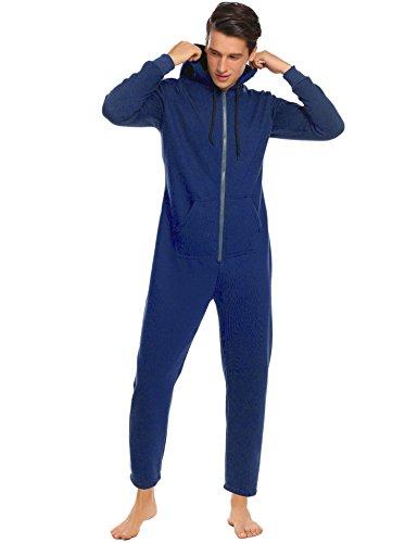 Ekouaer Mens Onesie Pajamas Adult Hooded Non Footed Jumpsuit PJS Sleepwear (Navy Blue, S)