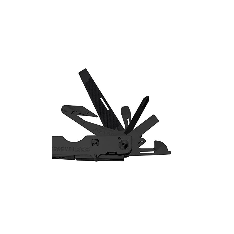 """SOG Multitool Pliers and Hand Tools – """"PowerAssist"""" B66N CP Black Oxide 2x Power Compound Leverage Multi Tool with 16 Specialty Tools + EDC Multitool Sheath"""