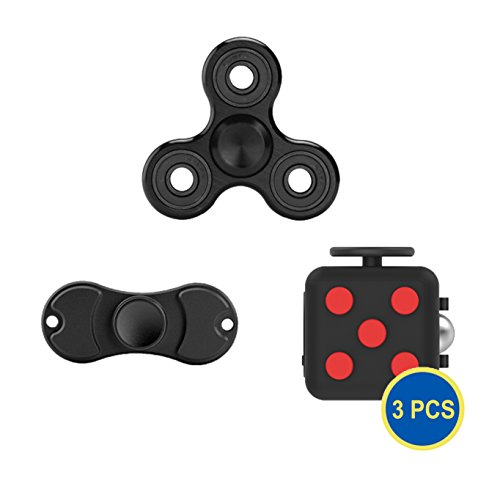 Gadget.Cool All Black Fidget Toys Bundle - Pack of 3 Value Set, 2 Hand Spinners & 1 Fidget Cube, Reduce Stress and Anxiety, Help Focus Attention and Austism ADD ADHD(Pack of 3 Bundle) Gadget.Cool