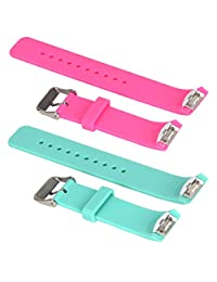 ECSEM 2pcs Small Soft Silicone Replacement Sport Band/Strap for Samsung Galaxy Gear S2 SM-R720 / SM-R730 Smart Watch (Pink + Teal)