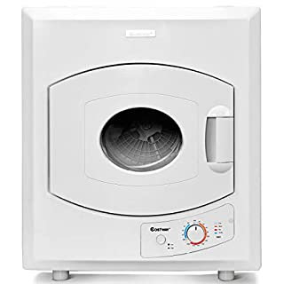 COSTWAY Electric Compact Laundry Dryer, 2.65 Cu.Ft Capacity Portable Tumble Clothes Dryer with Stainless Steel Tub, Control Panel Downside Easy Control for 4 Automatic Drying Mode, White