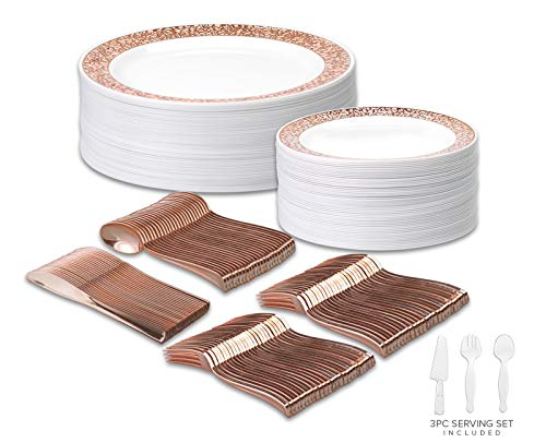 Your Gatherings - 303pc/50 Guest Rose Gold Premium Disposable Wedding Dinnerware Set | 50 Dinner Plates, 50 Dessert Plates, 100 Forks, 50 Spoons, 50 Knives, 3pc Serving Set (50 Guest Set, Rose Gold)
