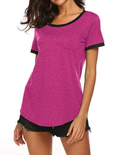 Women Plus Size Comfy Loose Fit Contrast Color Short Sleeve O Neck Lightweight Top Tee 2X Rose Red ()
