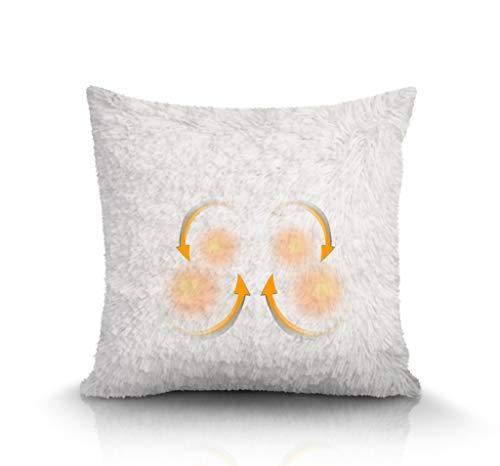 Shiatsu Memory Foam Massage Pillow, Fuzzy Soft Pillow with Heat 3D Shiatsu for Shoulder, Back Neck Massager - Removable & Washable Pillow Case -