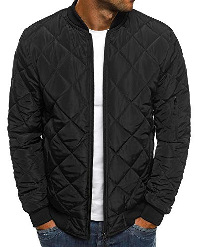 Bomber Quilted Nylon Jacket (Pengfei Mens Diamond Quilted Jackets Bomber Varsity Winter Fall Chunky Coats Outwear)