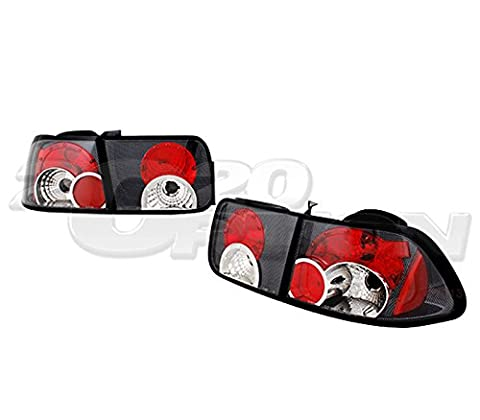 TYC 96-00 HONDA CIVIC 2DR COUPE CARBON LOOK HOUSING TAIL BRAKE LAMP LIGHTS - Honda Civic 2dr Carbon