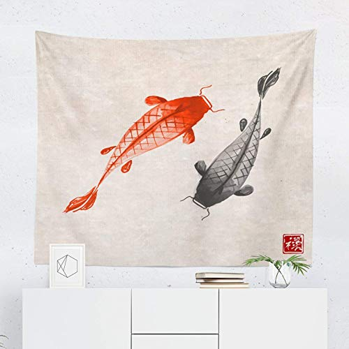 Oriental Tapestry - Koi Fish Asian Japanese Japan Wall Tapestries Hanging Décor Bedroom Dorm College Living Room Home Art Print Decoration Decorative - Printed in the USA - Small Medium Large Sizes - Quality Koi High Japan