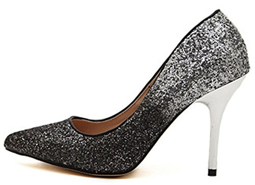 IDIFU Womens Glitter Sequins Closed Pointed Toe Slip On Pumps Stiletto High Heels Shoes Silver twnOXlNXob