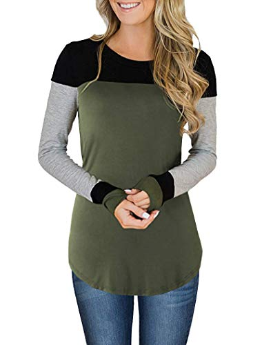 Womens Long Sleeve Shirts Crew Neck Color Block Tunic Tops S Army ()