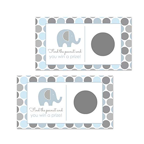 Elephant Baby Shower Scratch Off Party Game Pack of 28 Blue and Grey