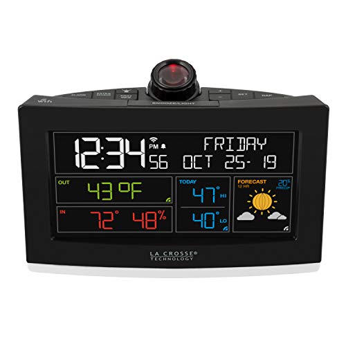 La Crosse Technology C82929-INT WiFi Projection Weather Alarm Clock Black - Lacrosse Projection Weather Station