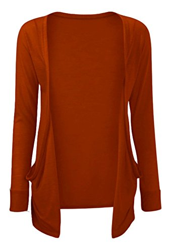 Hot Hanger Ladies Plus Size Pocket Long Sleeve Cardigan 16-26 (24-26 XXXL, Rust)