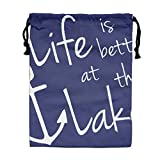 CMTRFJ Personalized Drawstring Bag-Life-is-Better-at-The-Lake Holiday/Party/Christmas Tote Bag