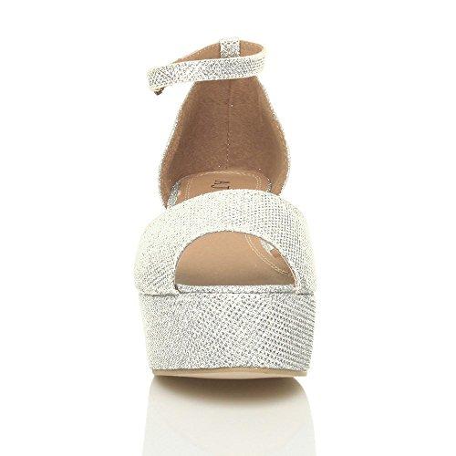 Heel Mid Silver Flatform Sandals Women Size Shoes Glitter Ajvani aWUvPZP