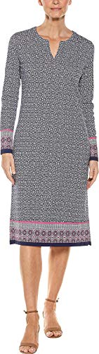 Coolibar UPF 50+ Women's Long Sleeve Oceanside Dress - Sun Protective (Large- Navy Geo -