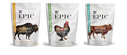 Epic Bites , 1 Beef Steak w/ Cranberry & Sriracha , 1 Chicken meat w/ Currant & Sesame BBQ Seasoning, 1 Bison Meat Uncured Uncured Bacon , Chia & Raisins , 2.5 oz , 1 of Each , Pack of 3