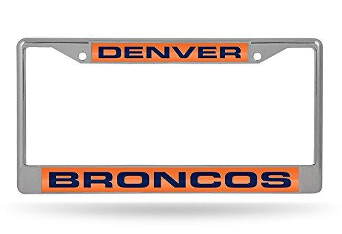 (NFL Denver Broncos Laser Cut Inlaid Standard Chrome License Plate Frame, Chrome)