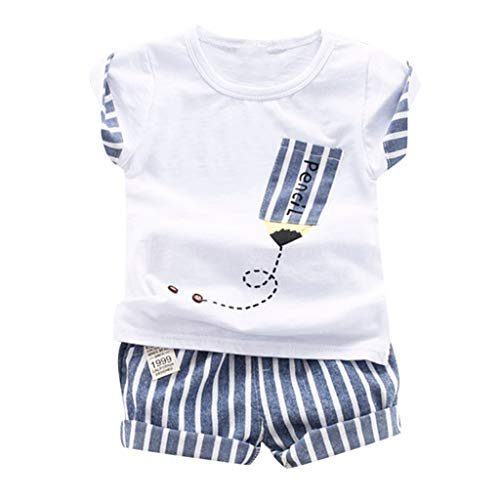 - Toddler Kid Baby Boys for 0M-2Y Cartoon Pattern Pencil Letter Print Tops Striped Shorts 2PC Outfits Sets Summer (12-18 Months, White)