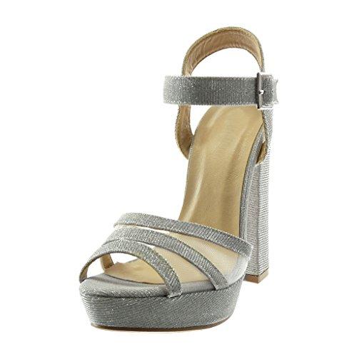 Mule Peep Argenté Brillant 13 Résille Sandale Lanière Toe Paillettes CM Mode Haut Talon Angkorly Chaussure Bloc Cheville Plateforme 5 Femme fxHvHw0