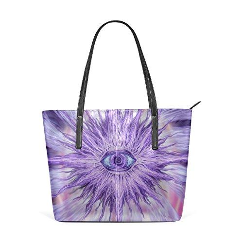 COOSUN Trippy Alex Grey PU bolso de cuero Monedero y bolsos de la bolsa de asas para las mujeres Medio muticolour