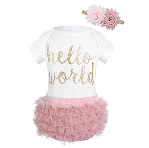 TiaoBug Newborn Baby Girls Birthday Outfit Short Sleeves Romper with Ruffle Tutu Bloomers Shorts Headband Clothes Set