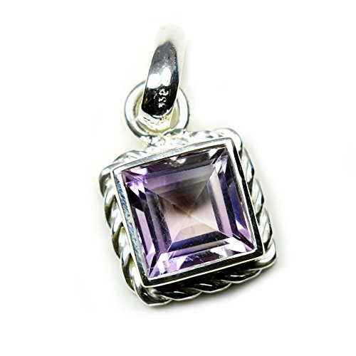 Jewelryonclick Amethyst Design Pendant Charm 6 Carat Natural Square Gemstone 92.5 Sterling Silver Gemstone Sterling Silver Square Pendant