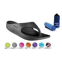 Telic Unisex VOTED BEST COMFORT SHOE Arch Support Recovery Flipflop Sandal +BONUS BOB Sports Towel $55 Value