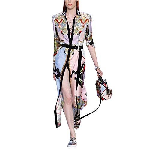 Del Encaje Las Seda Camisa White En Vestido Piso Abertura V Vintage Longitud Floral De Cuello Solapa Mujeres Con WRO1zWg