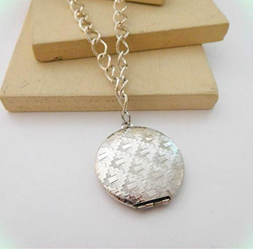 Polished Silver Tone Etched Patterned Photo Locket Pendant Necklace for Women - Dangle Etched