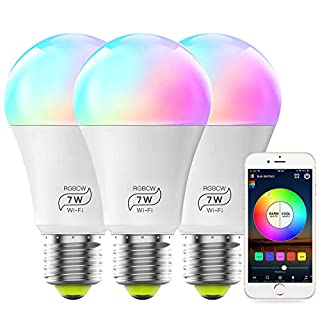 MagicLight Smart WiFi Light Bulb (No Hub Required), Dimmable Multicolor A19 E26 7W (60w Equivalent) RGBCW Smart LED Lights, Works with Alexa Google Home and Siri (3 Pack)