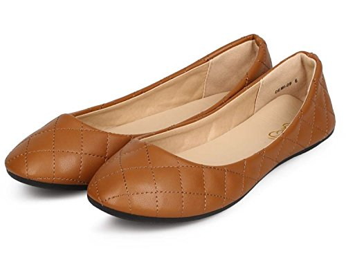 Refresh DEMI-09 Womens Patent Leatherette Ballerina Ballet Slip On Flats Tan Color Size 5.5