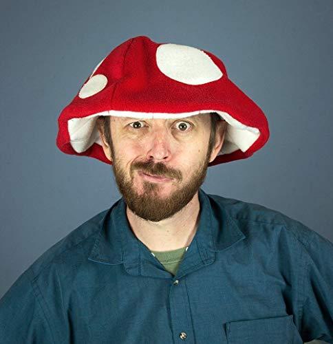 Handmade Fleece Mushroom Hat Red