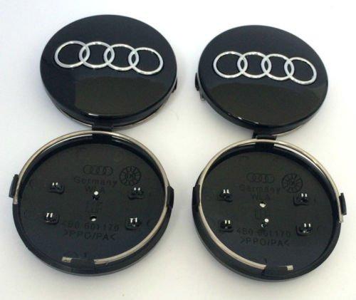 Set von 4/Audi Leichtmetallrad Badge Center Hub Mitte Caps Schwarz 60/MM 8b0601170/S3/S4/A3/A4/A6/A8/TT RS4/Q3/Q5/Q7 A2/A3/A4/A6/S6/RS6/TT und weitere Modelle