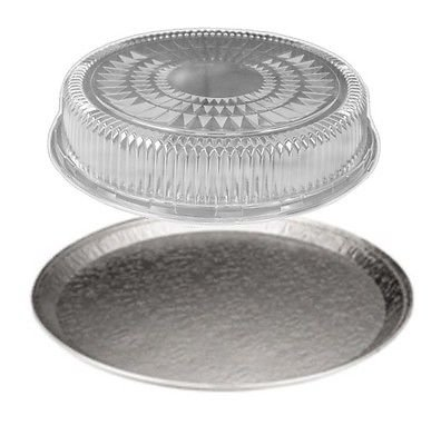 HFA / DPI 12 inch Round Flat Aluminum Foil Catering Serving Tray w/Clear Dome Lid (pack of 50)