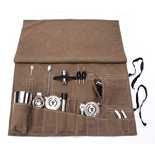 (Cocktail Tool Set Bartender Kit Portable Tote Bag,Professional Bartender Kit Roll Up Bag,16 Pockets Bar Tool Set Roll Up Pouch,Practical Cocktail Equipment Case,Easy To CarryTo The Picnic And Travel)