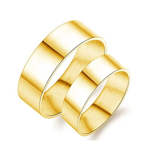 (Bishilin Stainless Steel 8MM(Men) | 6MM(Women) Plain Gold Plated Ring Wedding for Couple Size 10)