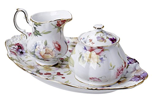 Flower Porcelain Creamer (5th Avenue Collection Porcelain Sugar and Creamer Set with Tray White with Flowers)