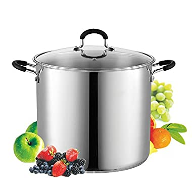 Cook N Home 02441 Stockpot Saucepot with Lid Induction Compatible, 12 quart, Metallic