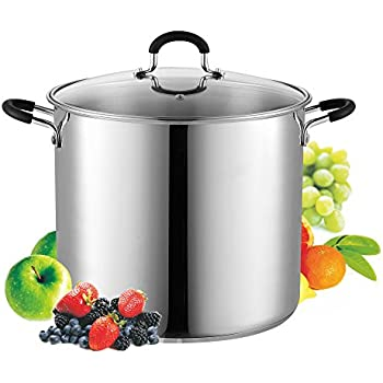 Cook N Home 12 Quart Stainless Steel Stockpot Saucepot with Lid, Induction Compatible